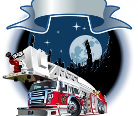 Fire truck with city vector 02