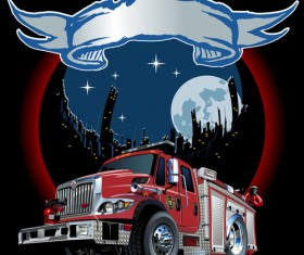 Fire truck with city vector 03