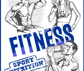 Fitness GYM hand drawn poster vector 01