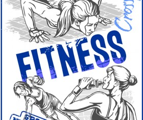 Fitness GYM hand drawn poster vector 02