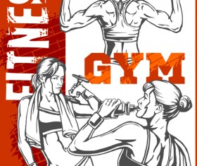 Fitness GYM hand drawn poster vector 03