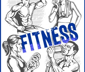 Fitness GYM hand drawn poster vector 05