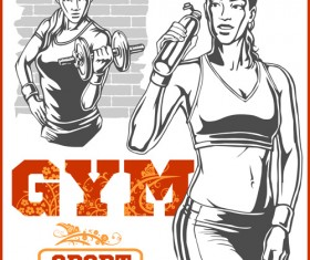 Fitness GYM hand drawn poster vector 06
