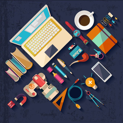 Flat office tools vector vector web design free download for Free online office design tool