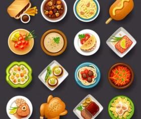 Flat food icons circle vector