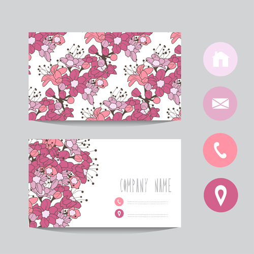 Floral business cards elegant vector material 10 vector for Flower business cards