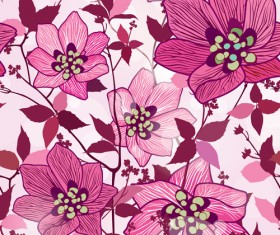 Floral seamless pattern hand drawing vector 05