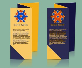 Fold flyer with brochure vector template set 07