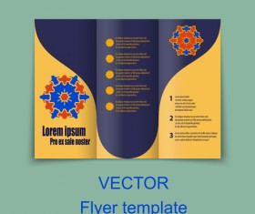 Fold flyer with brochure vector template set 08