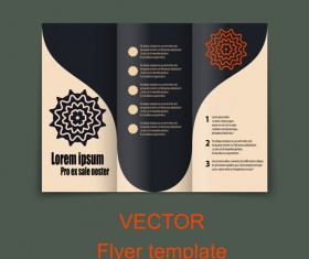 Fold flyer with brochure vector template set 10