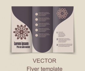 Fold flyer with brochure vector template set 12