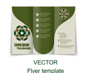 Fold flyer with brochure vector template set 15