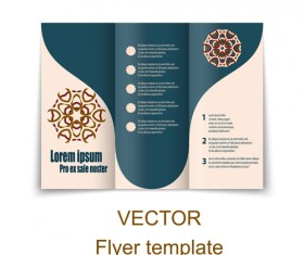Fold flyer with brochure vector template set 18