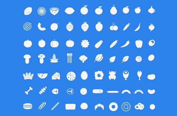 Food with fruit icon set