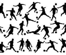 Football with people silhouetters vectors set 01