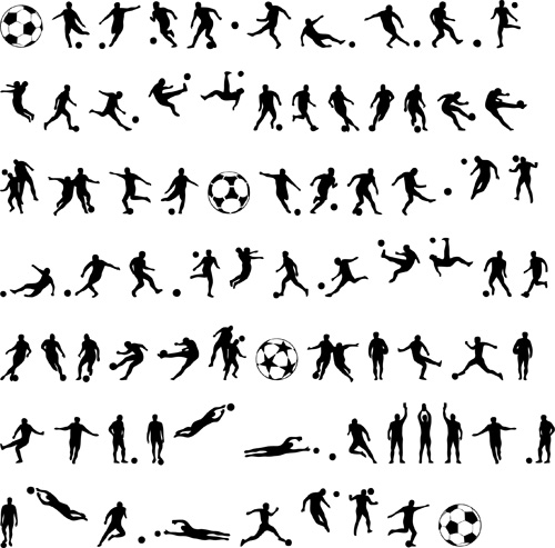 Football with people silhouetters vectors set 02
