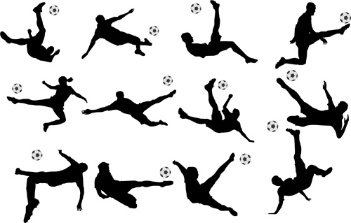 Football with people silhouetters vectors set 03