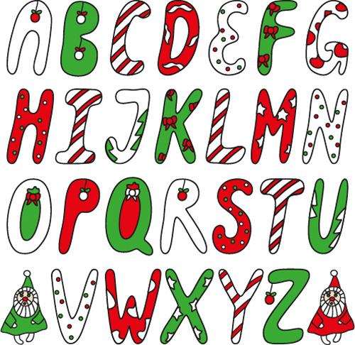 Christmas Alphabet.Funny Christmas Alphabet Font Vector Free Download