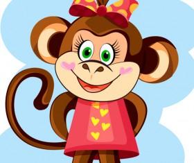 Funny monkey hero vector