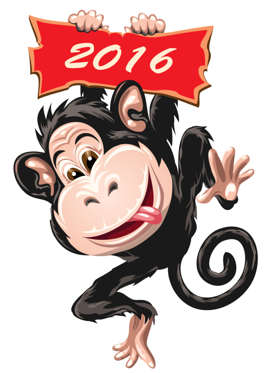 2016 christmas with funny monkey vector 07 - Vector Christmas free ...