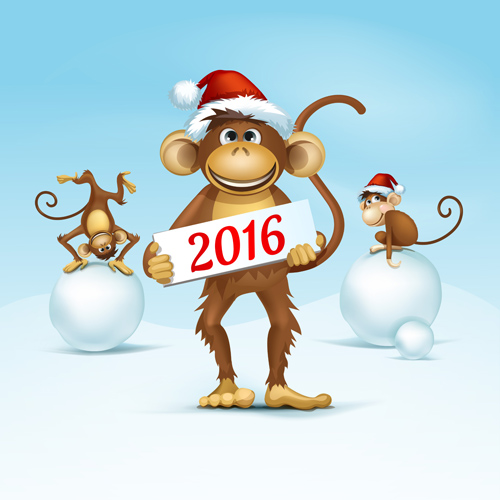 New Year Card With Funny Monkey Holding Hands. Stock Illustration ...