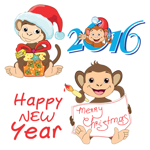 2016 christmas with funny monkey vector 03 - Vector Christmas free ...