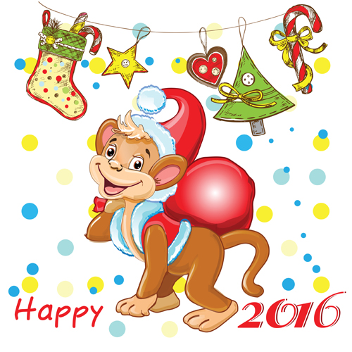 2016 christmas with funny monkey vector 06 - Vector Christmas free ...