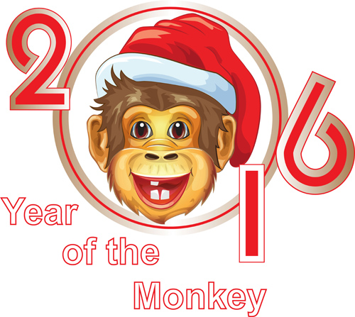 2016 Card With Cute Funny Monkey Character Stock Vector - Image ...