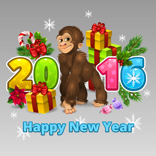 2016 christmas with funny monkey vector 01 - Vector Christmas free ...