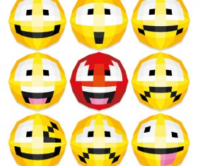 Funny smileys icons vectors set 01