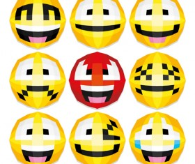 Funny smileys icons vectors set 02