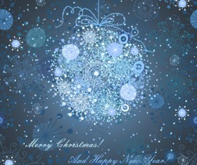 Funny snowflake background with christmas ball vector 01