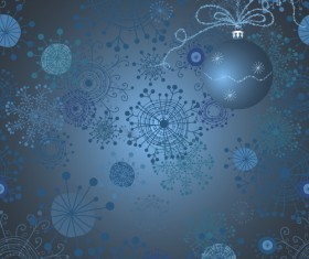 Funny snowflake background with christmas ball vector 02