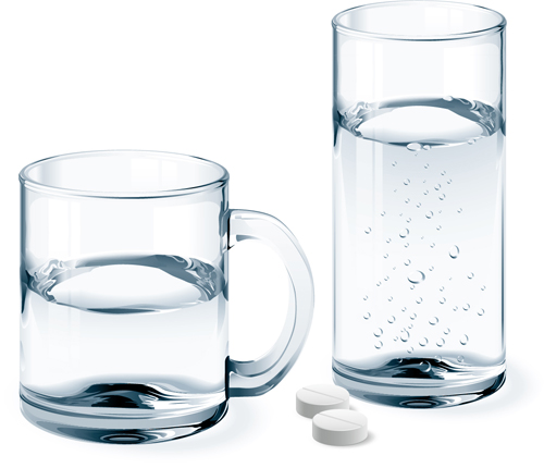 Glass Cup With Water Vectors Set 02 Free Download