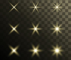 Glowing stars effects vector set 01