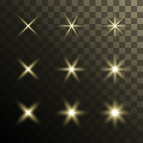 Glowing stars effects vector set 01 free download