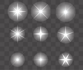 Glowing stars effects vector set 02