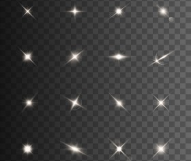 Glowing stars effects vector set 03