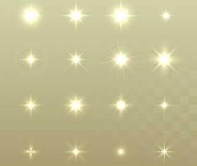 Glowing stars effects vector set 04
