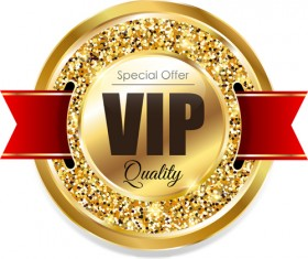 Golden VIP label with red ribbon vector