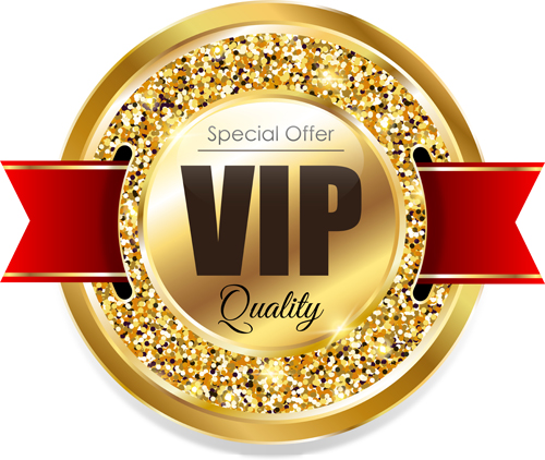 Golden VIP label with red ribbon vector free download