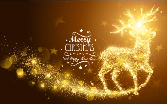 Merveilleux Golden Glow Christmas Holiday Background Vector 01