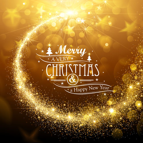 Golden Glow Christmas Holiday Background Vector 02
