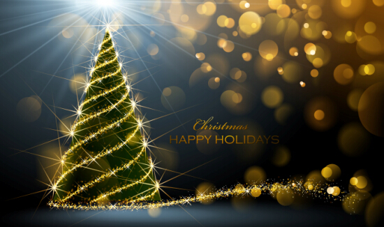 Beau Golden Glow Christmas Holiday Background Vector 03