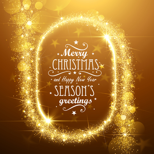 Golden Glow Christmas Holiday Background Vector 05