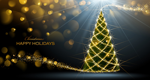 Golden Glow Christmas Holiday Background Vector 06