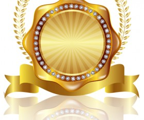 Golden labels with diamonds and laurel wreath vectors 08