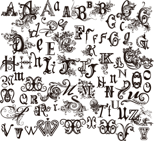 Gothic alphabets vector material 03 free download