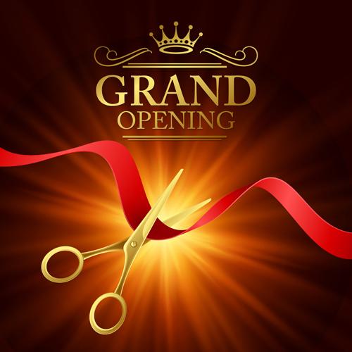 Grand opening with golden scissors background vector 06 ...