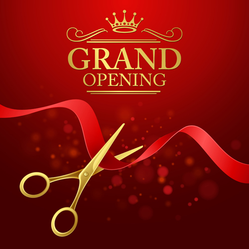 Grand Opening With Golden Scissors Background Vector 07